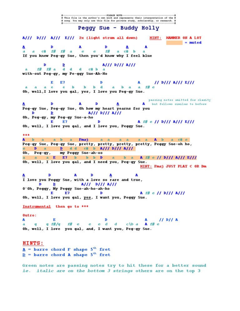 Peggy Sue - Buddy Holly (Chords) TAB