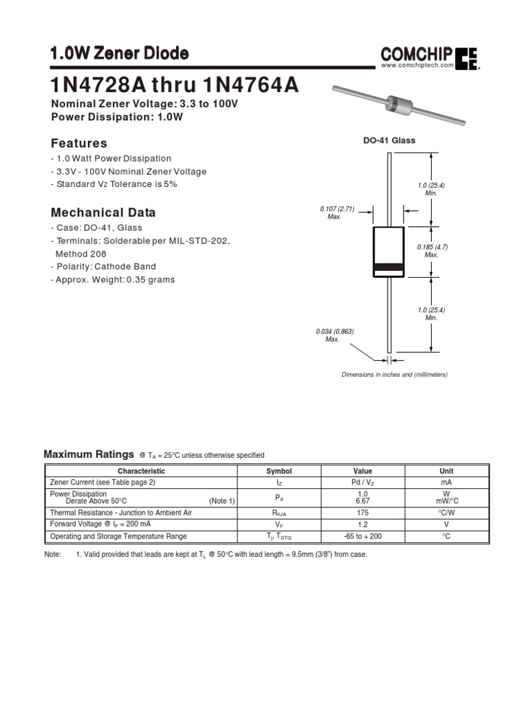 10w Zener Diode Physical Quantities Electrical Engineering Tl071 Tl072 Tl074 Datasheet