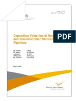 Deposition Velocities of Newtonian and Non-Newtonian Slurries in Pipelines Pnnl-17639