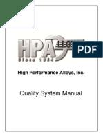 Quality System Manual (H) quality control