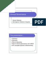 20130618 RWebster Clinical Governance