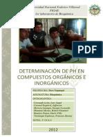 Determinación de PH en Compuestos Orgánicos e Inorgánicos