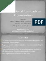A Relational Approach to Organization Ishtiaq