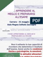 Come Apprendere al Meglio e Prepararsi all'Esame - Istituto Zaccagna (Carrara) - 31 Maggio 2014