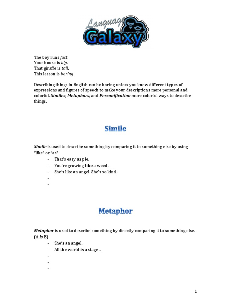 Simile Metaphor And Personification Teaching Resources | Teachers ...