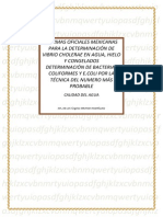 Normas Oficiales Mexicanas Para La Determinación de Vibrio Cholerae en Agua
