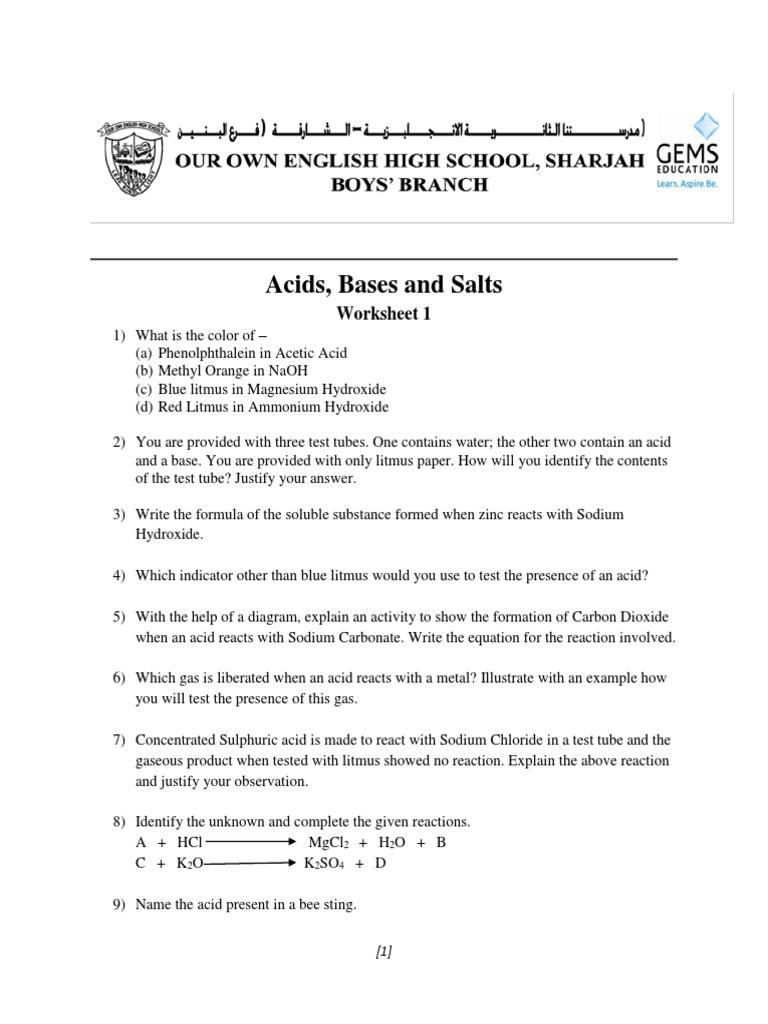 acids bases and salts worksheet 1   Acid   Sodium Hydroxide