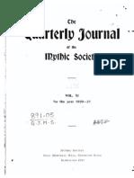 Quarterly Journal of the Mythic Society Volume 11, 1921