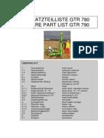 Ersatzteilliste GTR 780 Deutsch.
