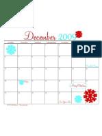 Printable December 2009 Calendar by The Tomkat Studio