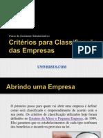 Critérios Para Classificação Das Empresas