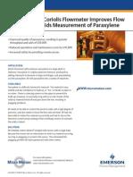 Coriolis Flowmeter Improves Flow and Percent Solids Measurement of Paraxylene