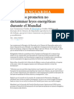 30-05-2014 Vanguardia - Diputados prometen no dictaminar leyes energéticas durante el Mundial.