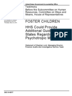 Testimony of Stephen Lord, GAO to Ways and Means Committee on Psychotropic Overmedication of Foster Care Youth