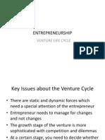 Entrepreneurship - Venture Cycle