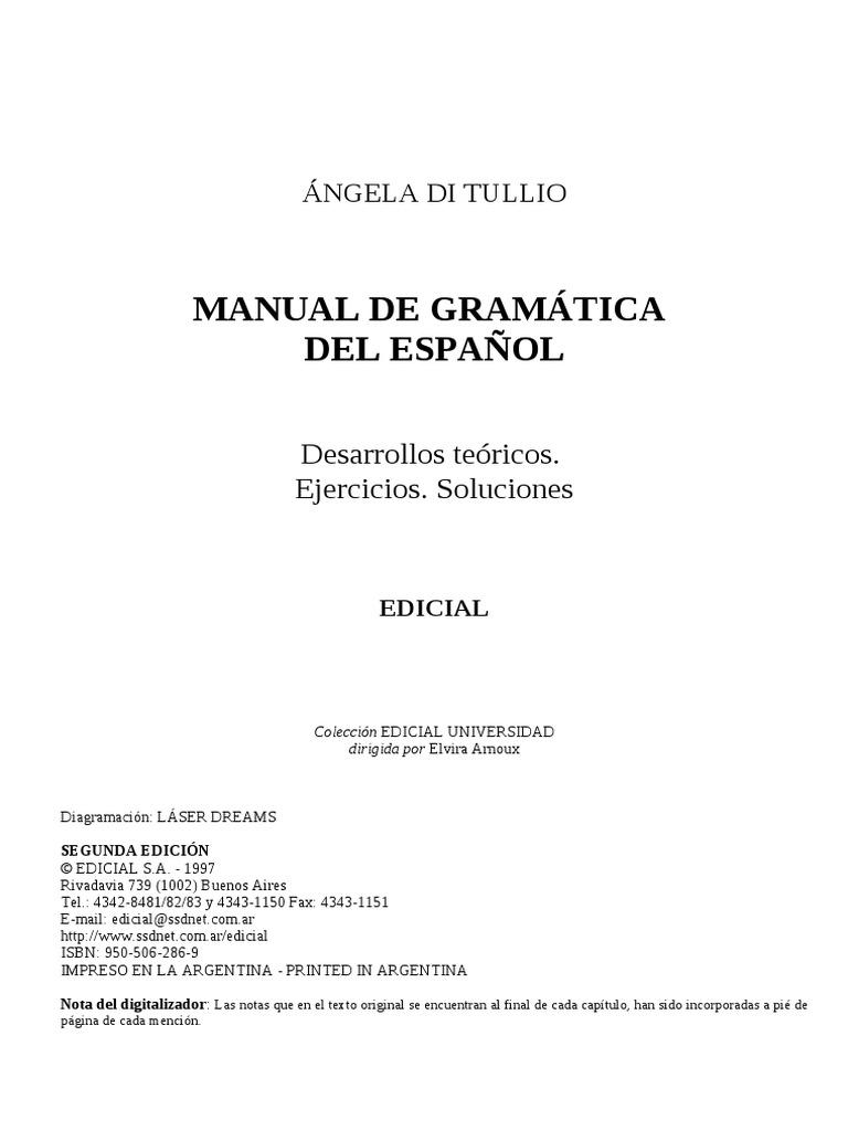 manual de gramática del español di tullio 2014 pdf