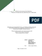 Propuesta de Lineamientos Para Las Compras Internacionales de Materias Primas en La Empresa Alimentos Garmi c.a.