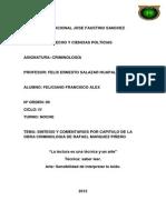 SINTESIS Y COMENTARIOS POR CAPITULO DE LA OBRA CRIMINOLOGIA DE RAFAEL MARQUEZ PIÑERO