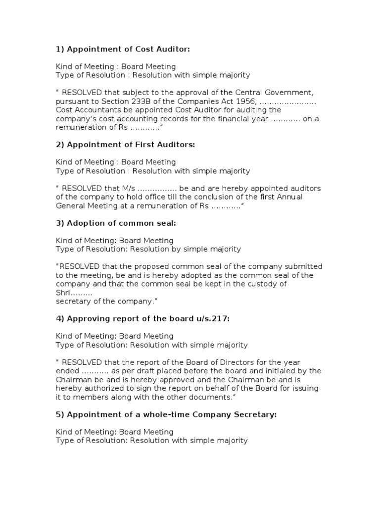 Cost Auditor Appointment Letter Format Companies Act
