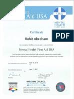Mental Heath First Aid Certificate