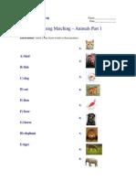 Vocabulary - Animals - Matching