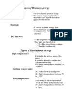 Types of Biomass and Geothermal Energy.
