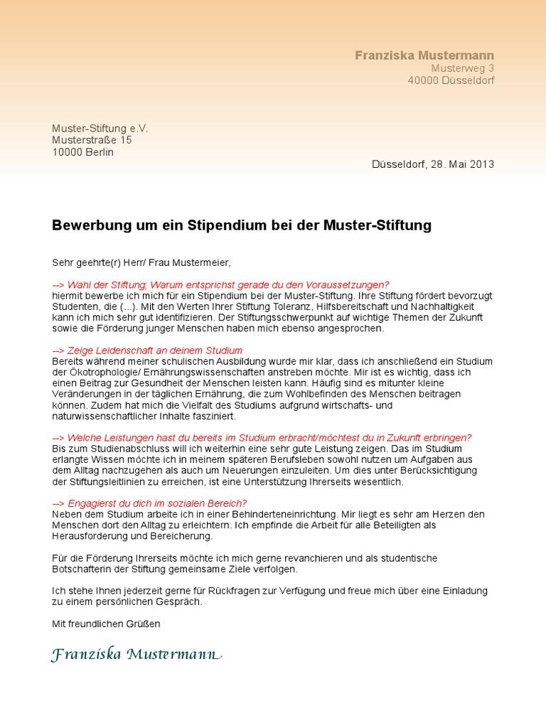muster motivationsschreiben stipendium - Dsseldorf Uni Bewerbung