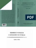 Galileu Galilei Sidereus Nuncius, O Mensageiro Das Estrelas[1]