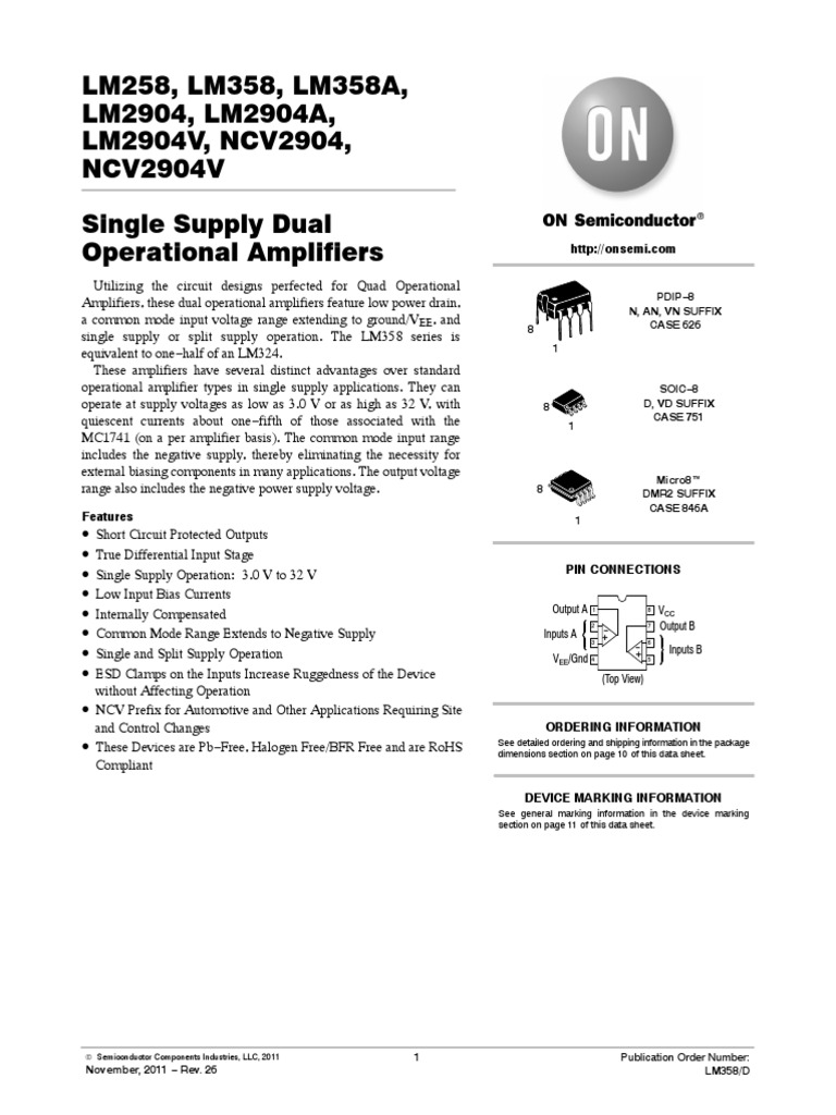Lm358 D Amplifier Operational Pin Diagram And Datasheet