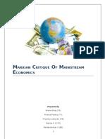Marxian Critique of Classical Economics