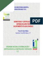 27_normatividad y Certificacion Sistemas Solares Calentamiento Aguamx_nov09