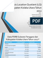 Analisis Location Quotient (LQ) Kabupaten Kolaka