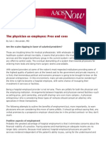 AAOS - The Physician as Employee - Pros and Cons