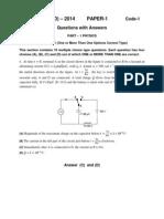 JEE Advanced 2014 Key Paper 1