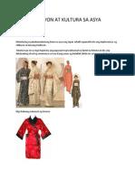 Rehiyon at Kultura Sa Asya