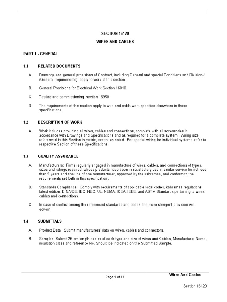 Electrical specifications Division 16 SECTION 16120 WIRES AND CABLES ...