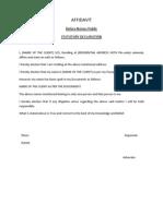 Affidavit Format FOR AUSTRALIA IMMIGRATION