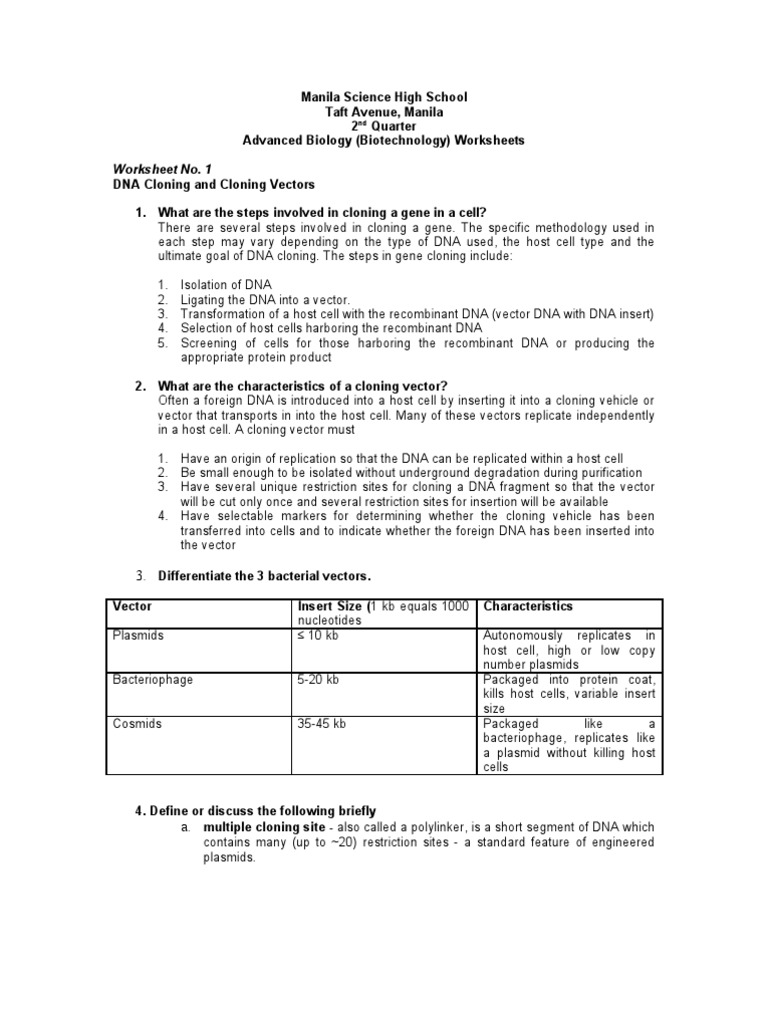 Worksheets Dna Technology Worksheet worksheets with answers molecular cloning plasmid