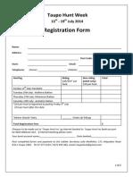 Taupo Hunt Week 2014 - Registration Form