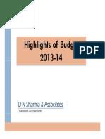 Budget Highlights 2013-14_D N Sharma & Associates
