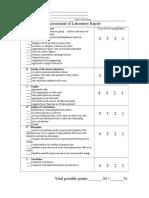 Lab Report Marking Scheme