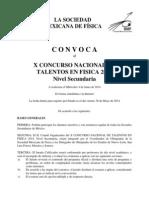 Convocatoria X Concurso Nacional de Talentos en Fisica 2014