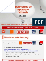 Baromètre BVA - Orange - L'Express - Presse Régionale - France Inter - Mai 2014