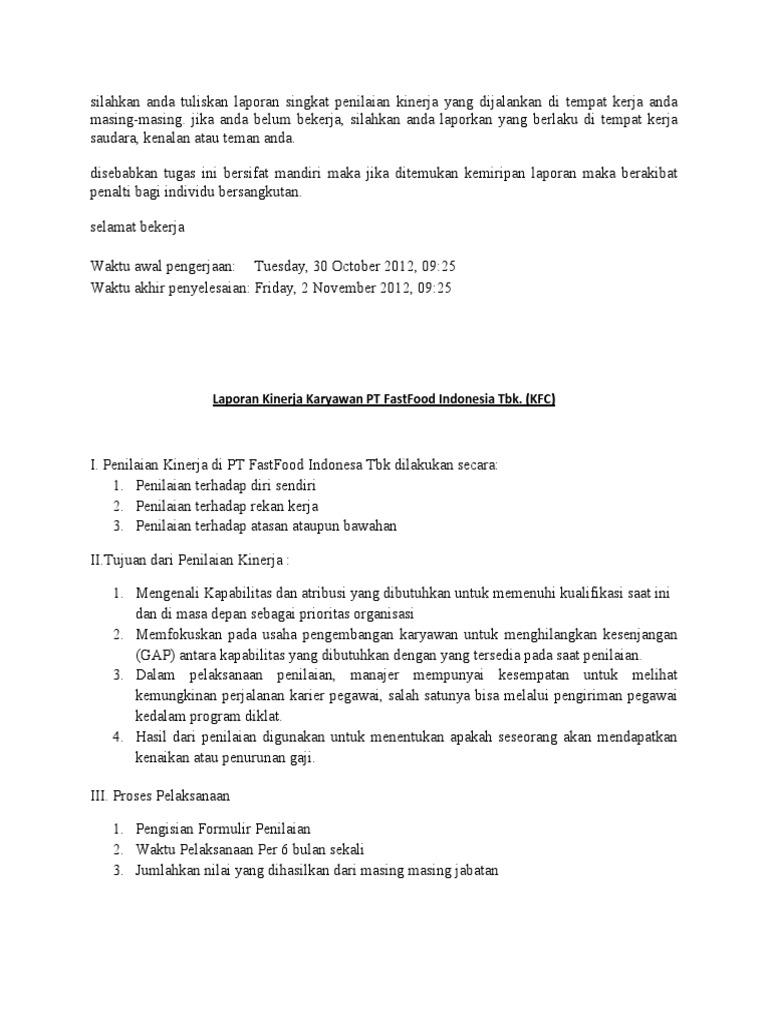 Laporan Singkat Penilaian Kinerja Karyawan 201171060 Sea Vita Donna