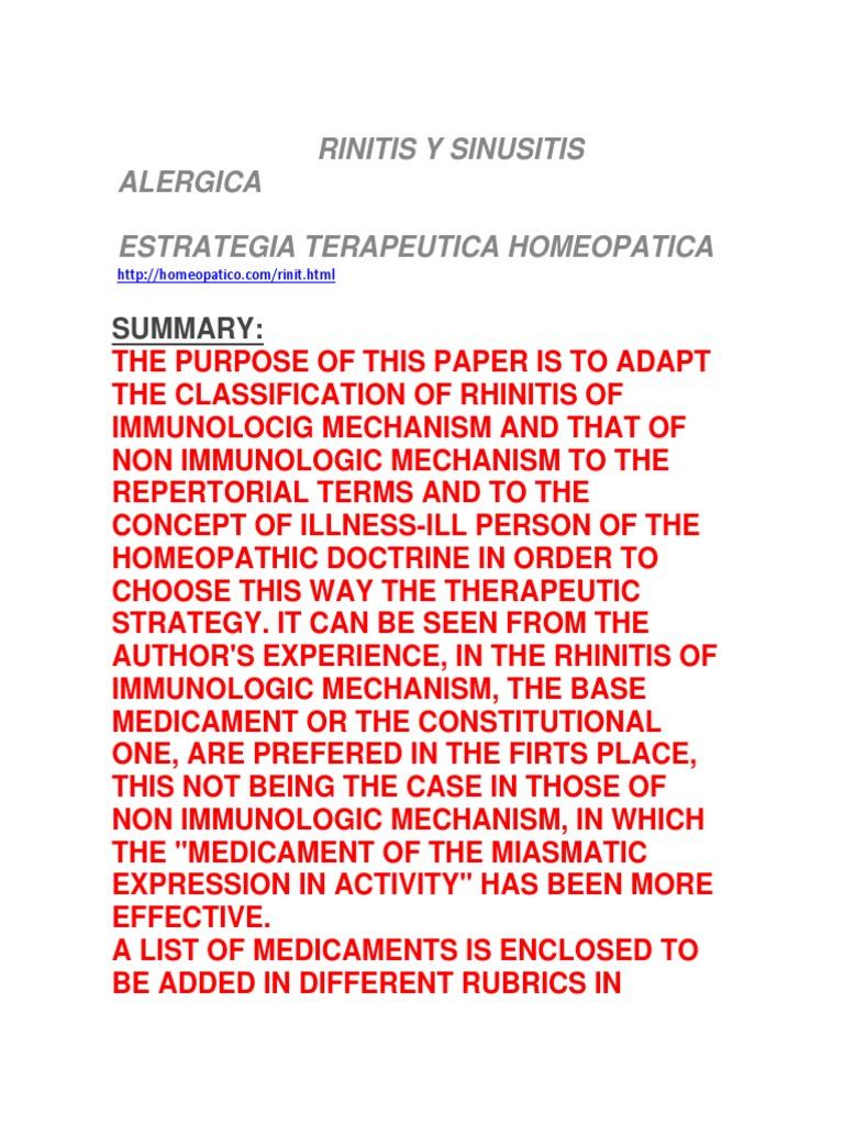 rinitis alergica cronica tratamiento homeopatico
