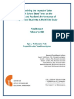 Impact of Later Start Time Final Report