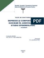 Depresie Şi Comportament Suicidar În Judeţul Dolj_ Studiu Epidemiologic