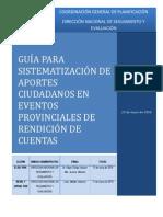 Guía de Sistematización Eventos Ciudadanos de Rendición de Cuentas