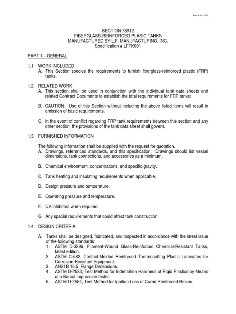 Sample FRP Tank Specification | Fiberglass | Fibre