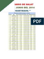 Horarios de Salats JUNIO 2014 Ecuador